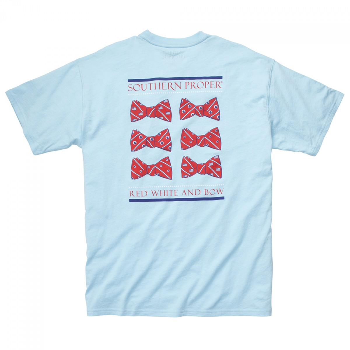 Red, White, & Bow Tee - Lt. Blue